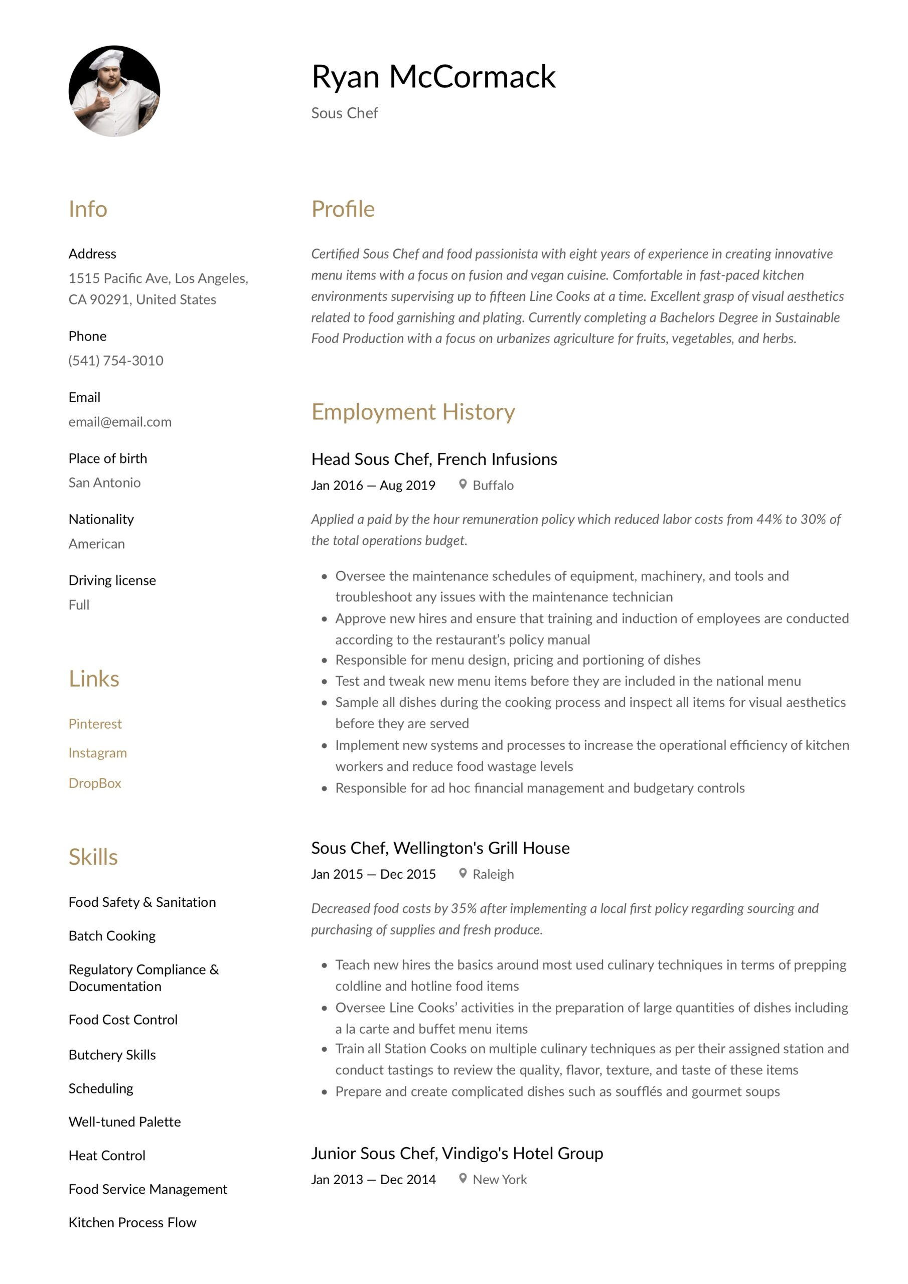 sous chef resume writing guide examples free samples ayurvedic doctor sample sound editor Resume Free Sous Chef Resume Samples