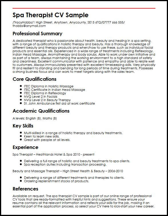 spa therapist cv example myperfectcv massage resume examples sample upgrade your airline Resume Massage Therapist Resume Examples