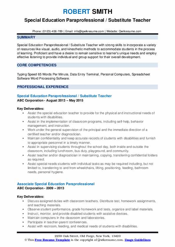 special education paraprofessional resume samples qwikresume pdf format for students Resume Special Education Paraprofessional Resume