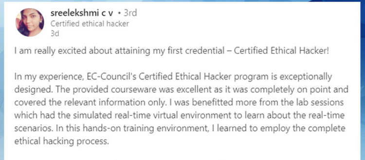 sreelekshmi talks about the certified ethical hacker council official blog ceh Resume Ceh Certification Resume