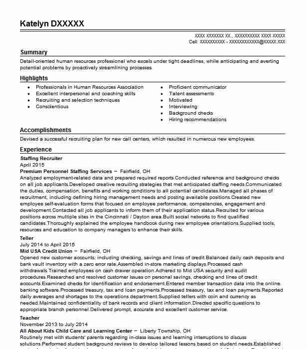 staffing recruiter resume example resumes livecareer sample special accomplishments Resume Recruiter Resume Sample