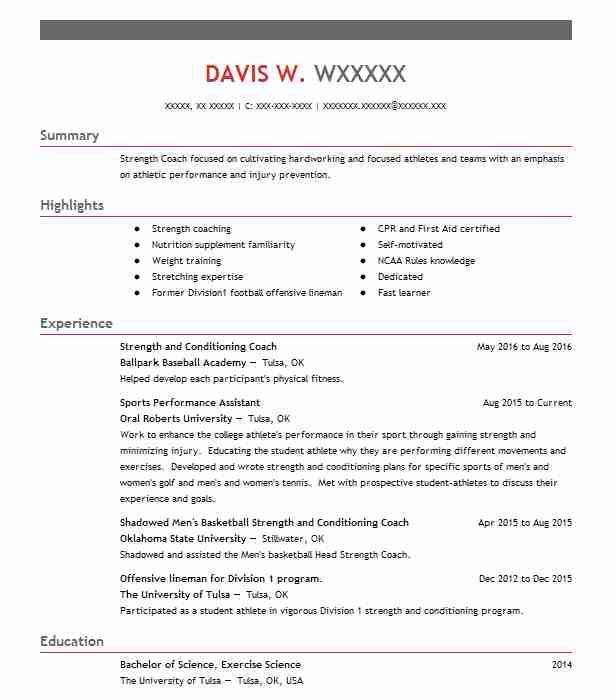 strength and conditioning coach resume example livecareer unique strengths for minimalist Resume Unique Strengths For Resume