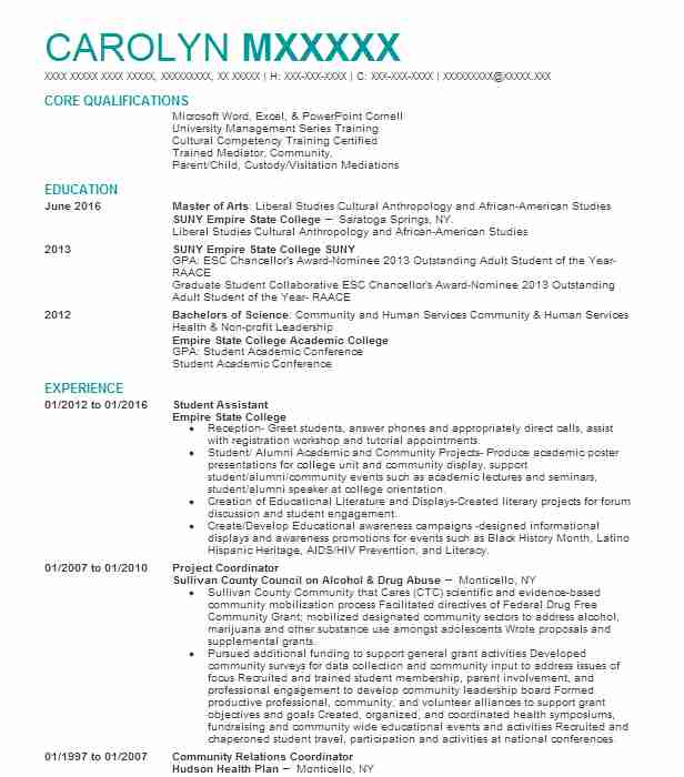 student assistant resume example resumes livecareer undergraduate examples for summer job Resume Undergraduate Resume Examples