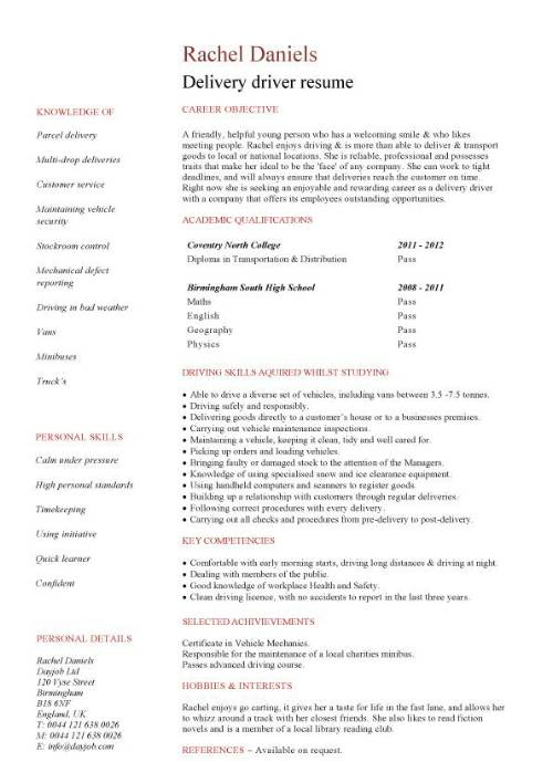 student entry level delivery driver resume template pic rsmio canva free job templates Resume Entry Level Driver Resume