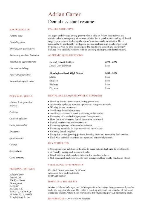 student entry level dental assistant resume template pic english teacher format generic Resume Dental Assistant Resume