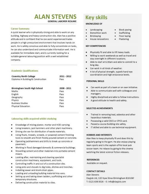 student entry level general laborer resume template construction pic film industry mental Resume Entry Level Construction Resume