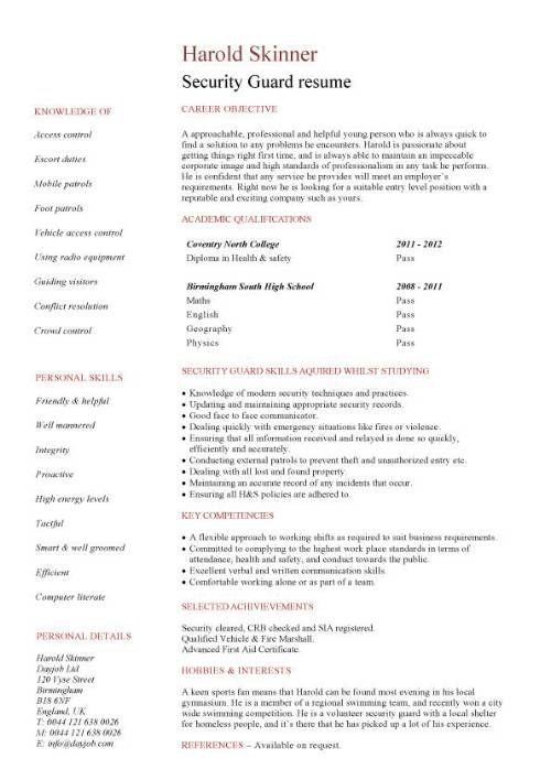 student entry level security guard resume template job description sample pic mbbs format Resume Security Guard Job Description Sample Resume