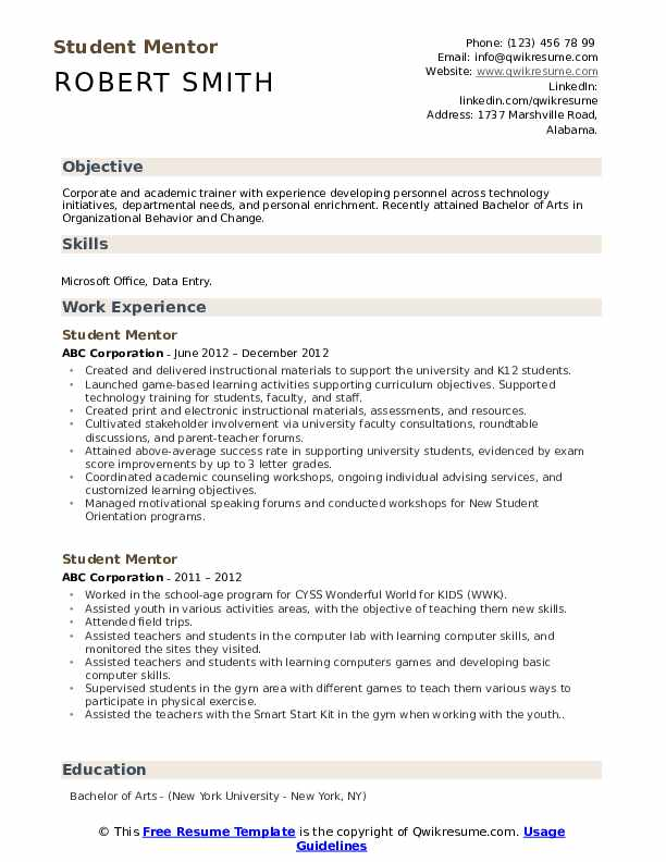 student mentor resume samples qwikresume skills for pdf limousine driver another word Resume Student Skills For Resume