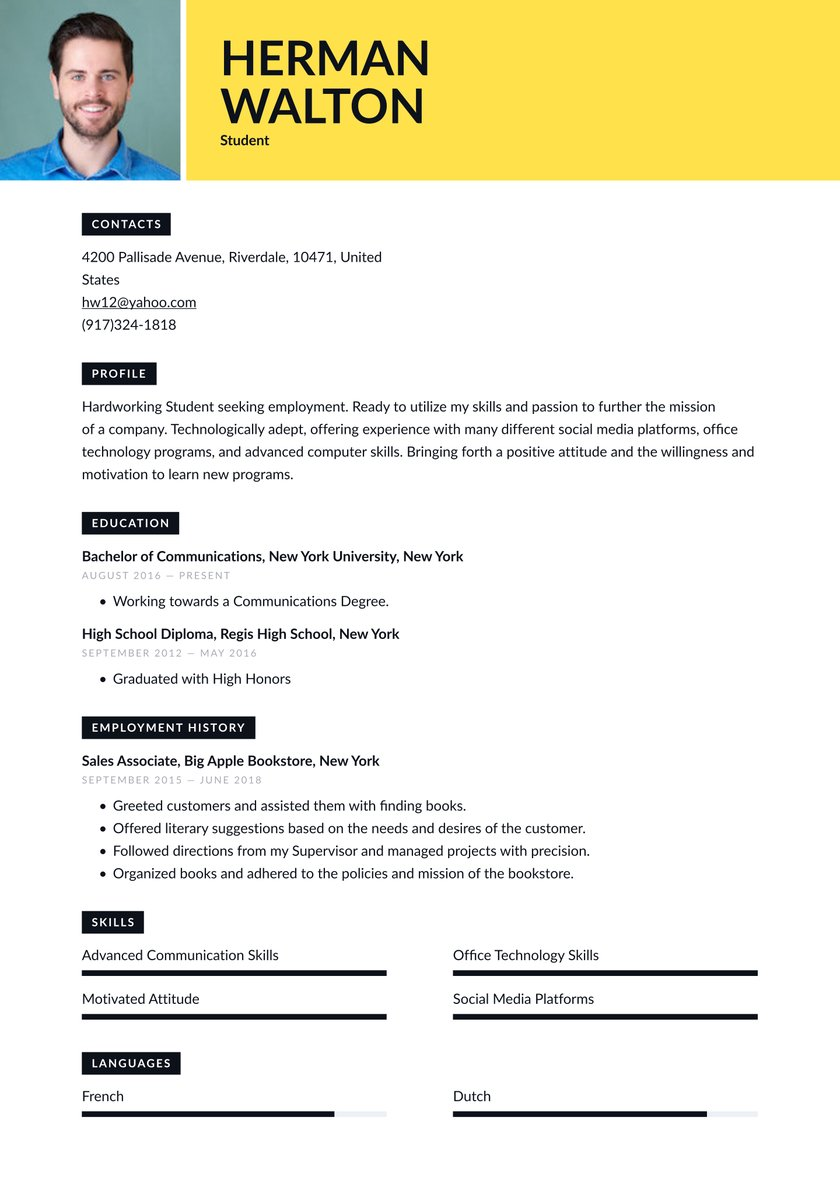 student resume examples writing tips free guide io for undergraduate graphic design Resume Resume For Undergraduate Student