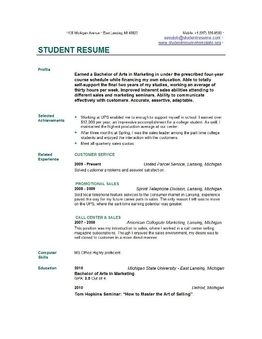 student resume templates easyjob best college template examples of scrum master project Resume Best College Student Resume Template