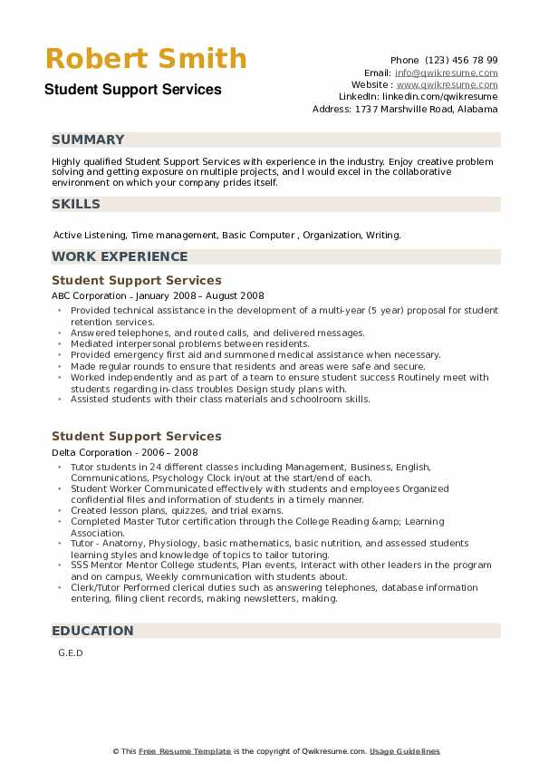 student support services resume samples qwikresume sample for pdf dance college free Resume Sample Resume For Student Support Services