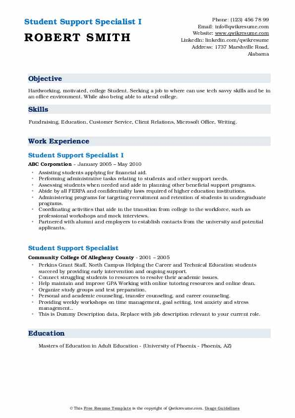 student support specialist resume samples qwikresume sample for services pdf linux device Resume Sample Resume For Student Support Services