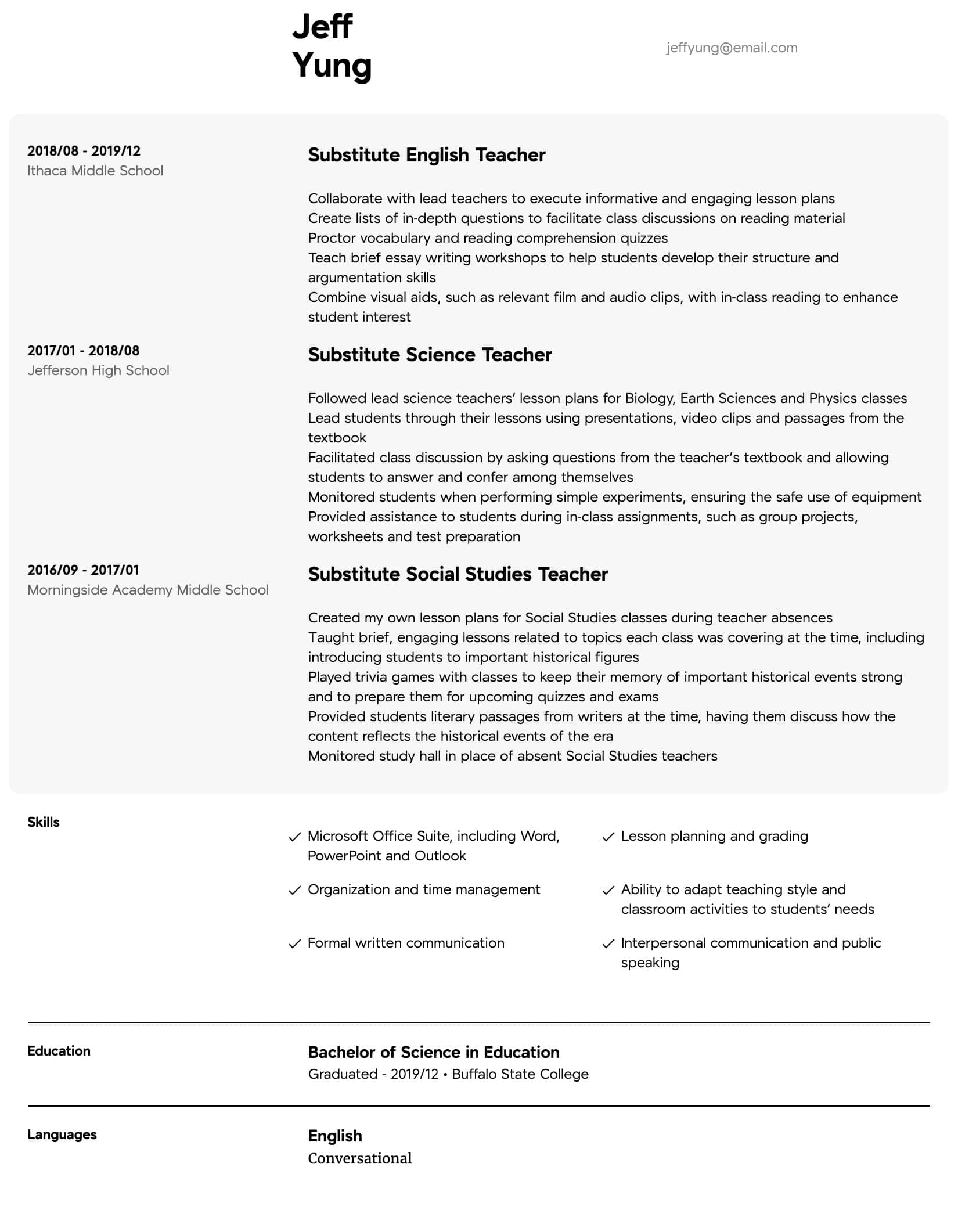 substitute teacher resume samples all experience levels skills for science intermediate Resume Skills For Science Teacher Resume