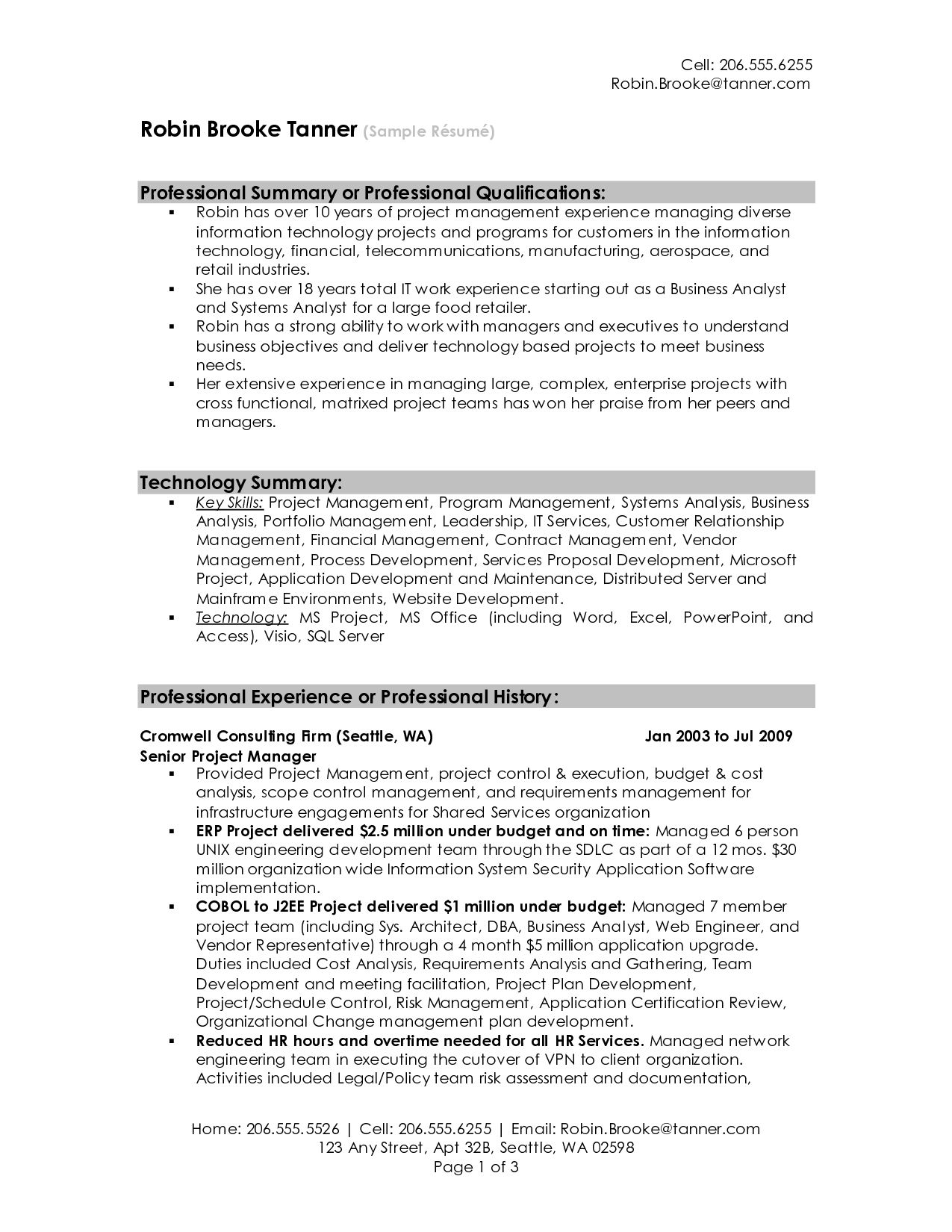 summary resume sample for examples get ideas make drop project manager cover letter Resume Resume Overview Examples