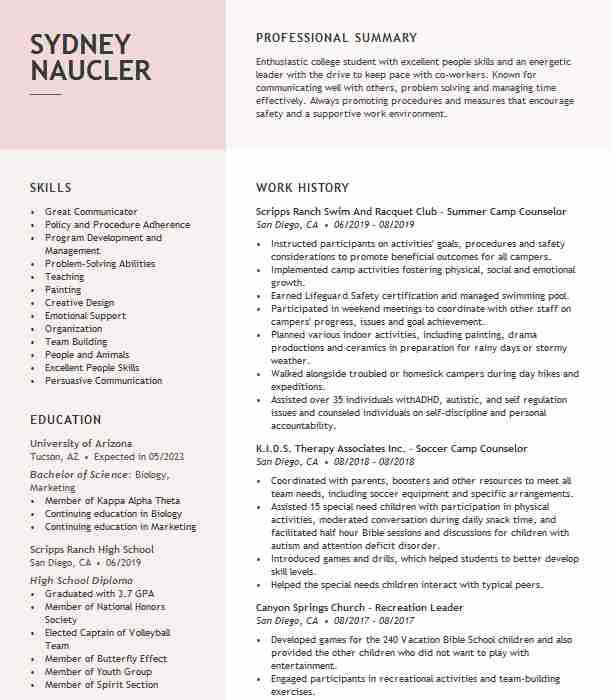 summer counselor resume example resumes livecareer description of for nhl medical Resume Description Of Camp Counselor For Resume