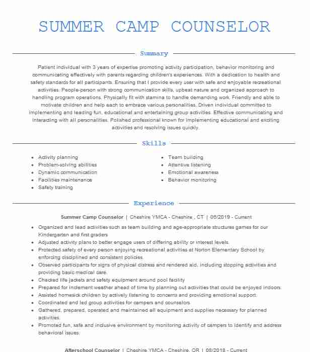 summer counselor resume example resumes livecareer job description for academic masters Resume Camp Counselor Job Description For Resume