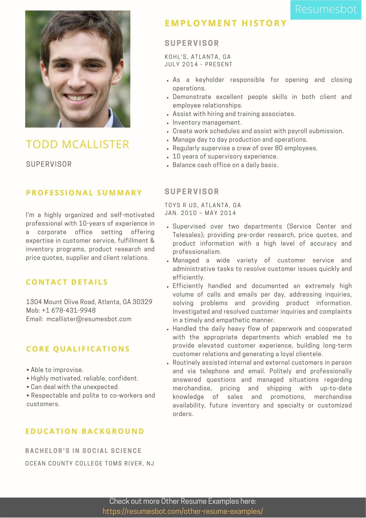 supervisor resume samples and tips pdf resumes bot self motivated sample example Resume Self Motivated Resume Sample