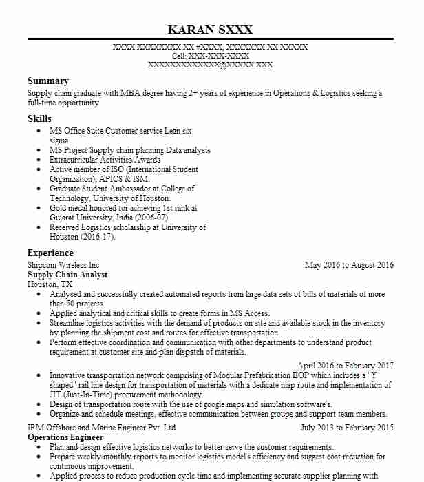 supply chain analyst resume example resumes livecareer skills for cpc examples bullet Resume Supply Chain Skills For Resume