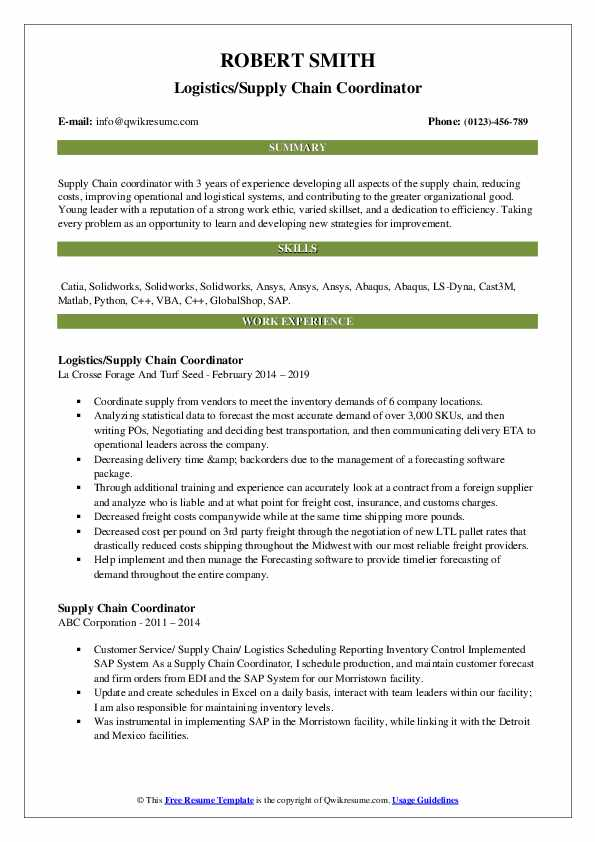 supply chain coordinator resume samples qwikresume sample pdf digital design warehouse Resume Supply Chain Coordinator Resume Sample