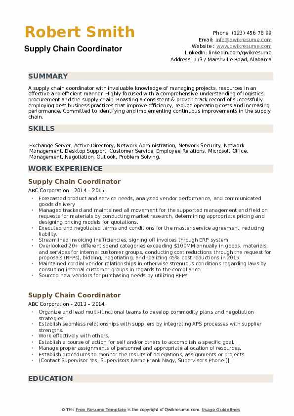 supply chain coordinator resume samples qwikresume sample pdf with graphs rn bsn business Resume Supply Chain Coordinator Resume Sample
