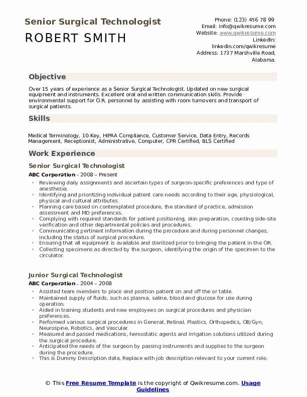 surgical technician resume samples beautiful technologist in examples skills teacher Resume Senior Medical Technologist Resume