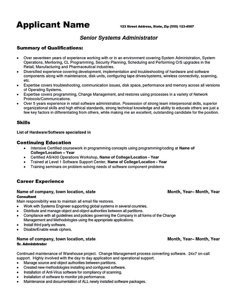 system administrator resume sample and tips to make examples admin format for fast food Resume System Admin Resume Format