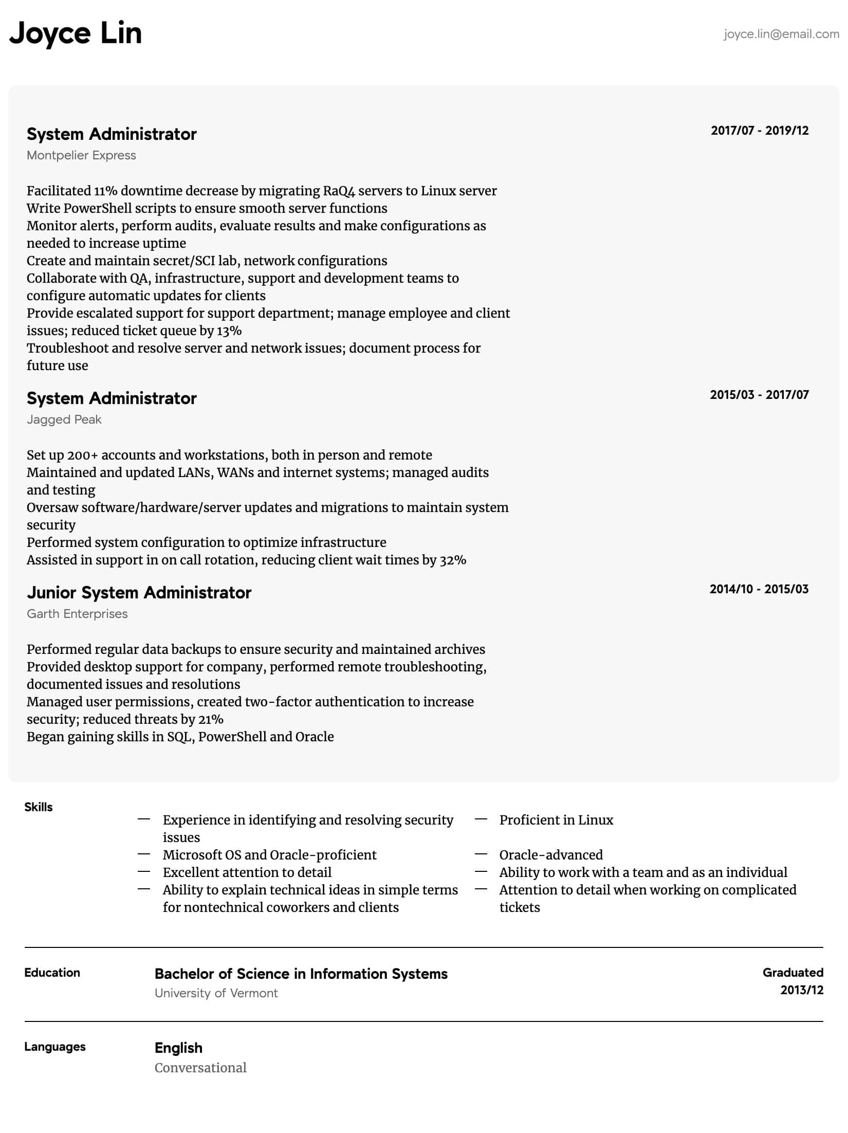 system administrator resume samples all experience levels sample intermediate uber driver Resume System Administrator Resume Sample Download