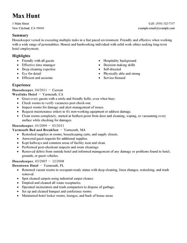 take look at our housekeeper resume example for housekeeping job hotel and hospitality Resume Resume For A Housekeeping Job
