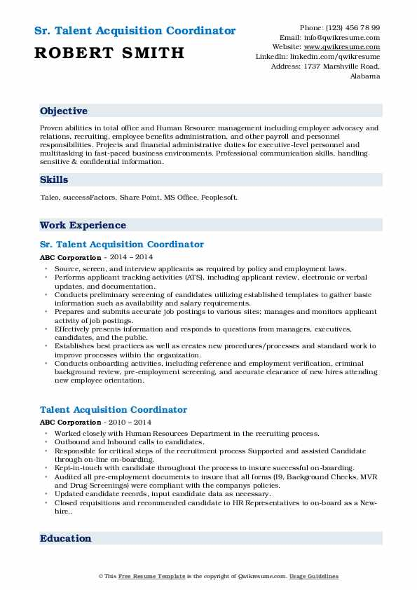 talent acquisition coordinator resume samples qwikresume pdf cover letter examples for Resume Talent Acquisition Coordinator Resume