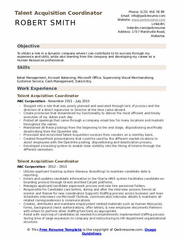 talent acquisition coordinator resume samples qwikresume pdf free examples cover letter Resume Talent Acquisition Coordinator Resume
