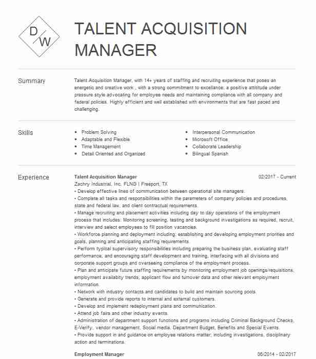 talent acquisition manager resume example livecareer examples corporate recruiter for Resume Talent Acquisition Resume Examples