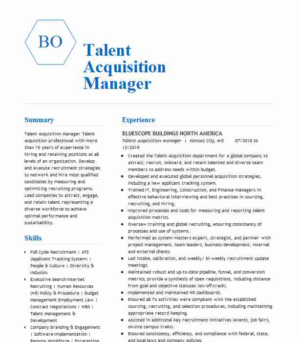 talent acquisition manager resume example livecareer examples rhce best title for fresher Resume Talent Acquisition Resume Examples