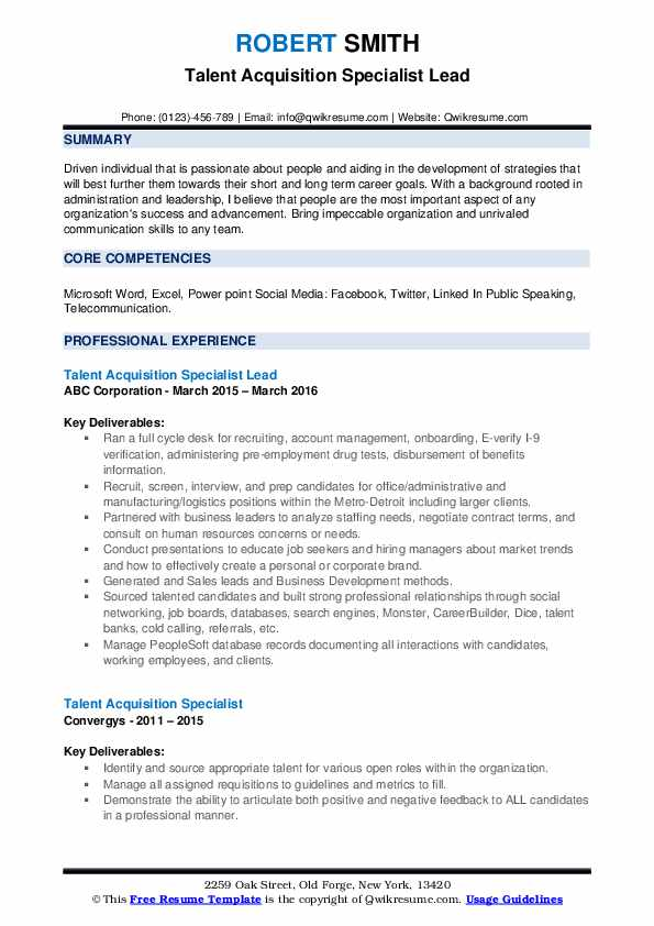 talent acquisition specialist resume samples qwikresume examples pdf team lead job Resume Talent Acquisition Resume Examples