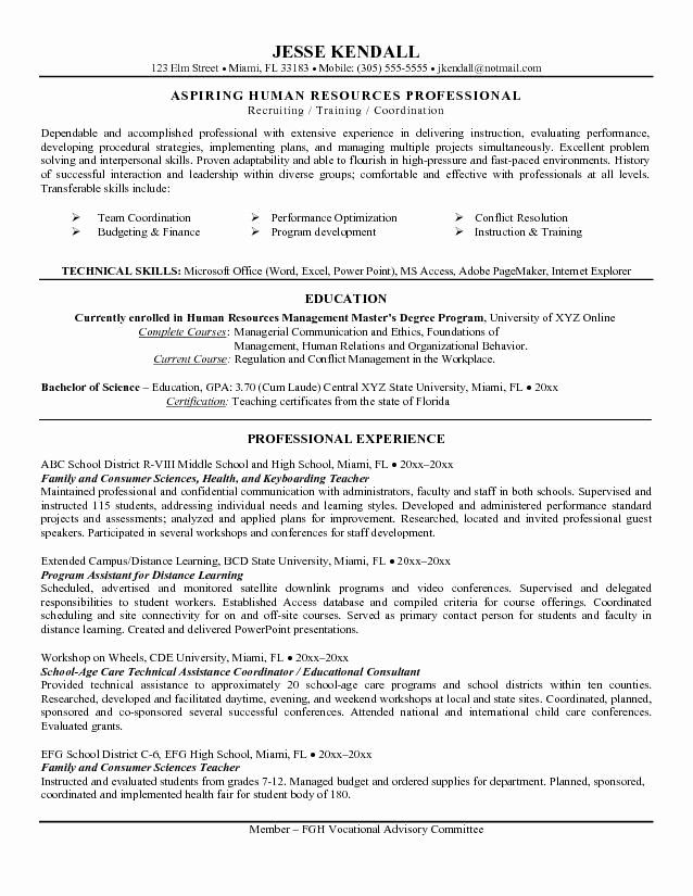 teacher career change resume example lovely to hr in objective examples statement family Resume Family And Consumer Science Teacher Resume