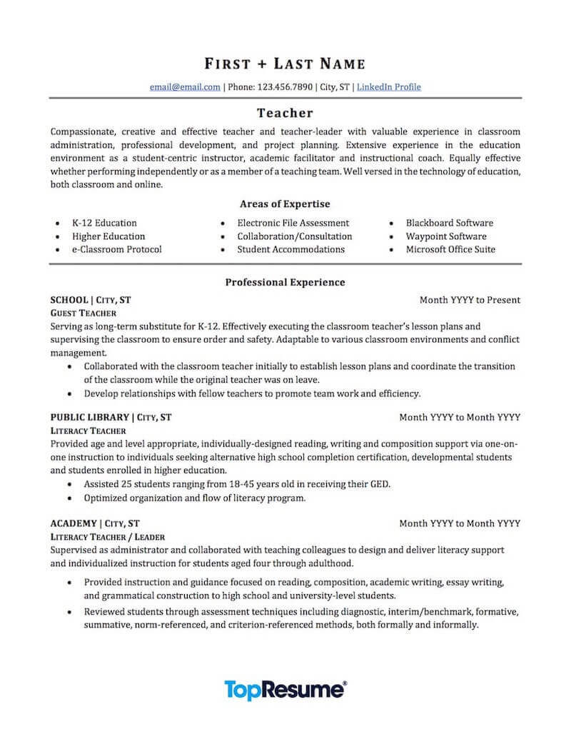 teacher resume sample professional examples topresume for teachers without experience Resume Resume Sample For Teachers Without Experience