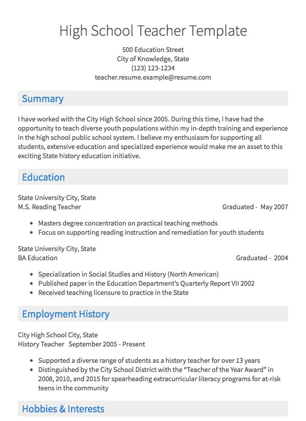 teacher resume samples all experience levels school examples professional service Resume School Teacher Resume Examples