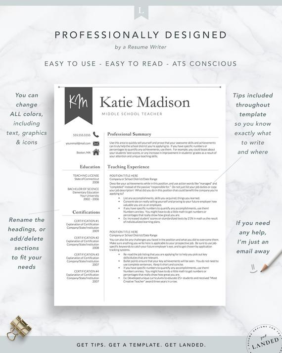 teacher resume template for word cv etsy elementary school il 570xn iw9l cara buat dalam Resume Elementary School Teacher Resume Template