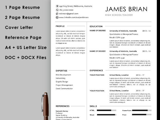 teacher resume template with cover letter and reference instant teaching resources for p0 Resume Reference Page For Resume Template