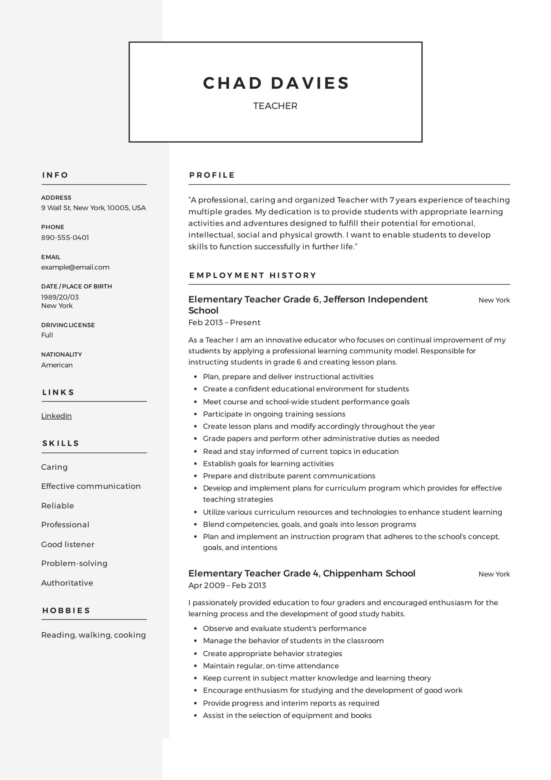 teacher resume writing guide examples pdf elementary school template sample headshot sdet Resume Elementary School Teacher Resume Template