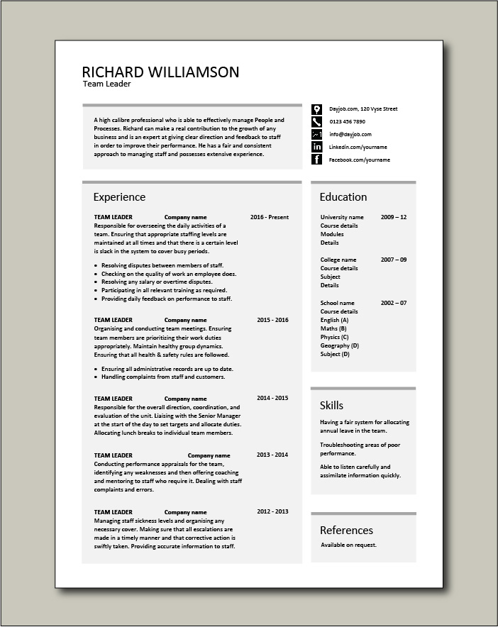 team leader resume supervisor cv example template sample jobs work areas of growth for Resume Areas Of Growth For Resume