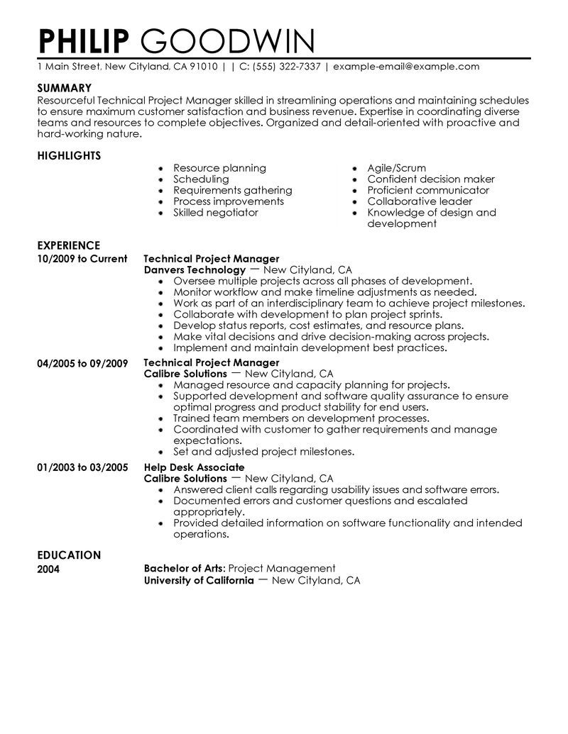 technical project manager resume examples computers technology samples livecareer student Resume Project Manager Resume Examples 2020