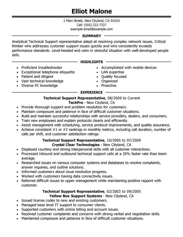 technical support resume examples created by pros myperfectresume email customer service Resume Email Customer Service Resume