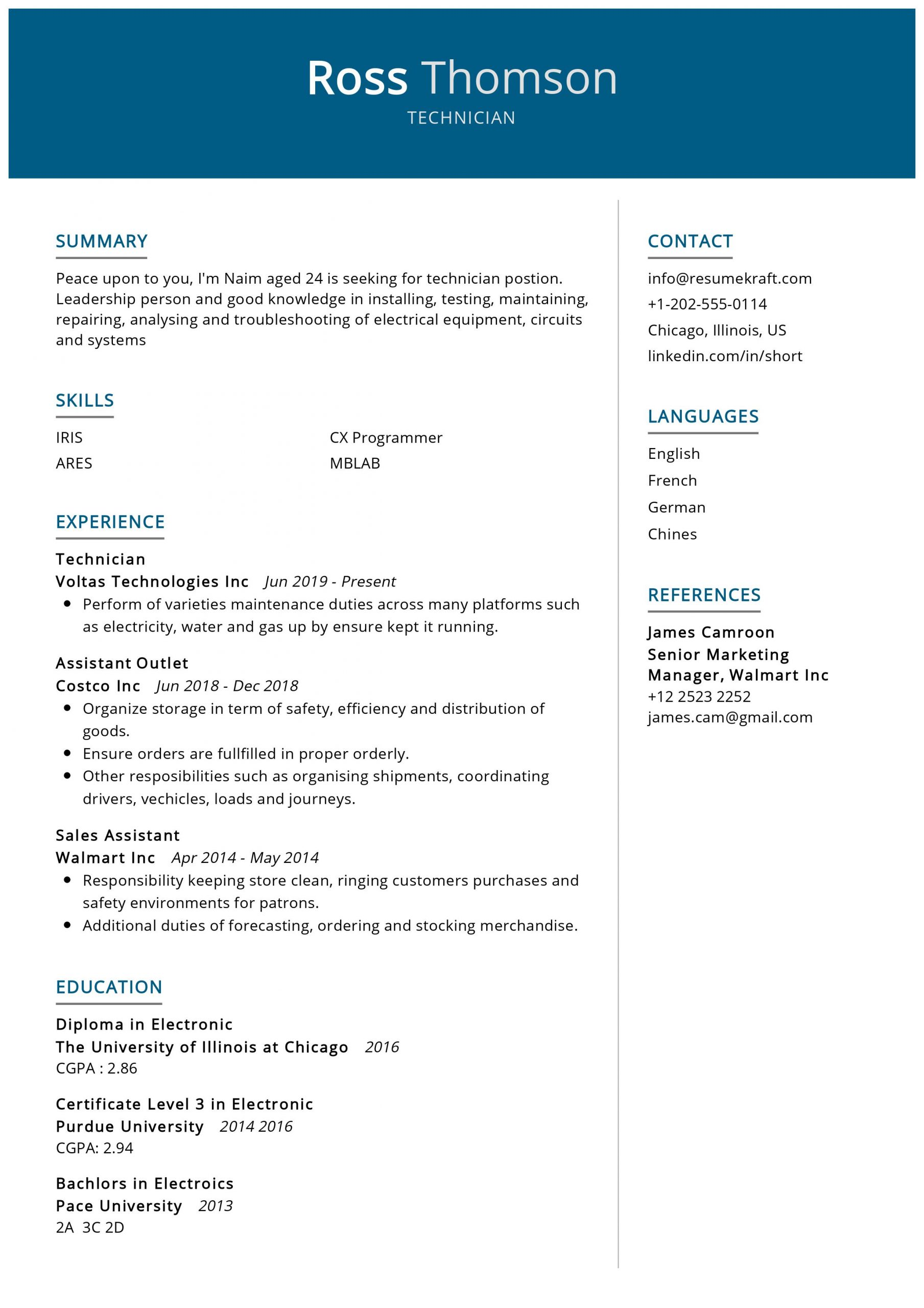 technician resume sample resumekraft electronic scaled data migration business analyst Resume Electronic Technician Resume