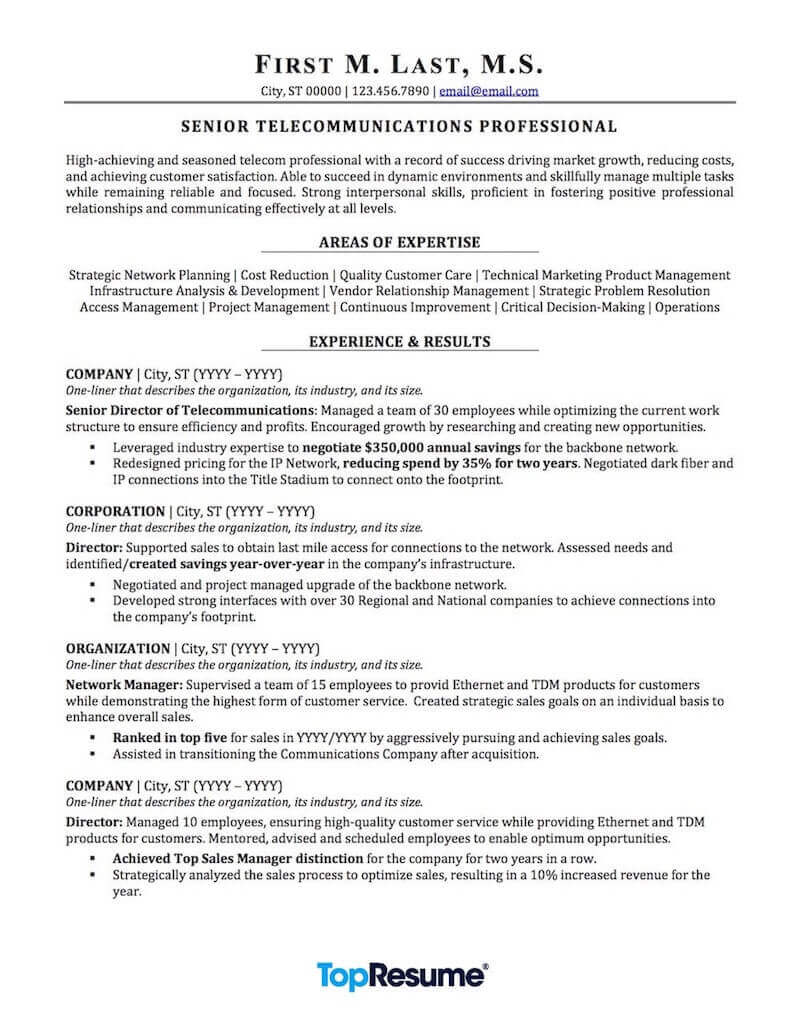 telecommunications resume sample professional examples topresume areas of growth for Resume Areas Of Growth For Resume