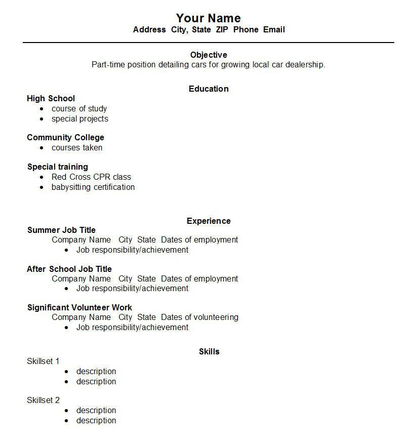 template student first job resume sample high school new format for introduce yourself Resume First Resume High School