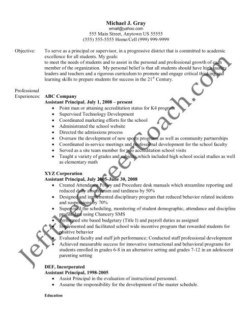 the assistant principal resume sample three in pdf free interactive templates loadrunner Resume Sample Principal Resume