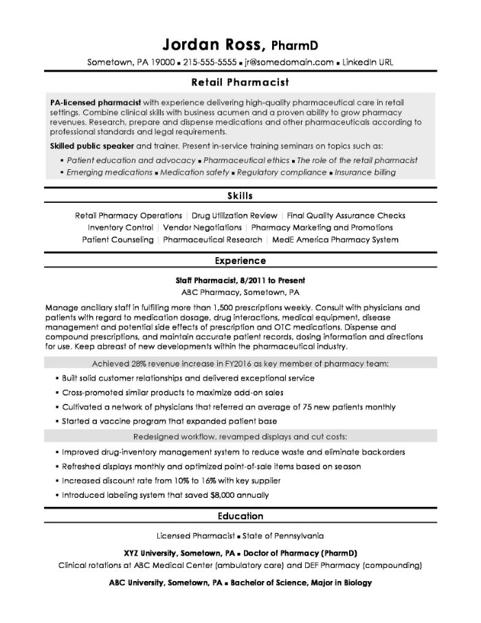 the best pharmacist cv and résumé examples oncology resume retail example Resume Oncology Pharmacist Resume