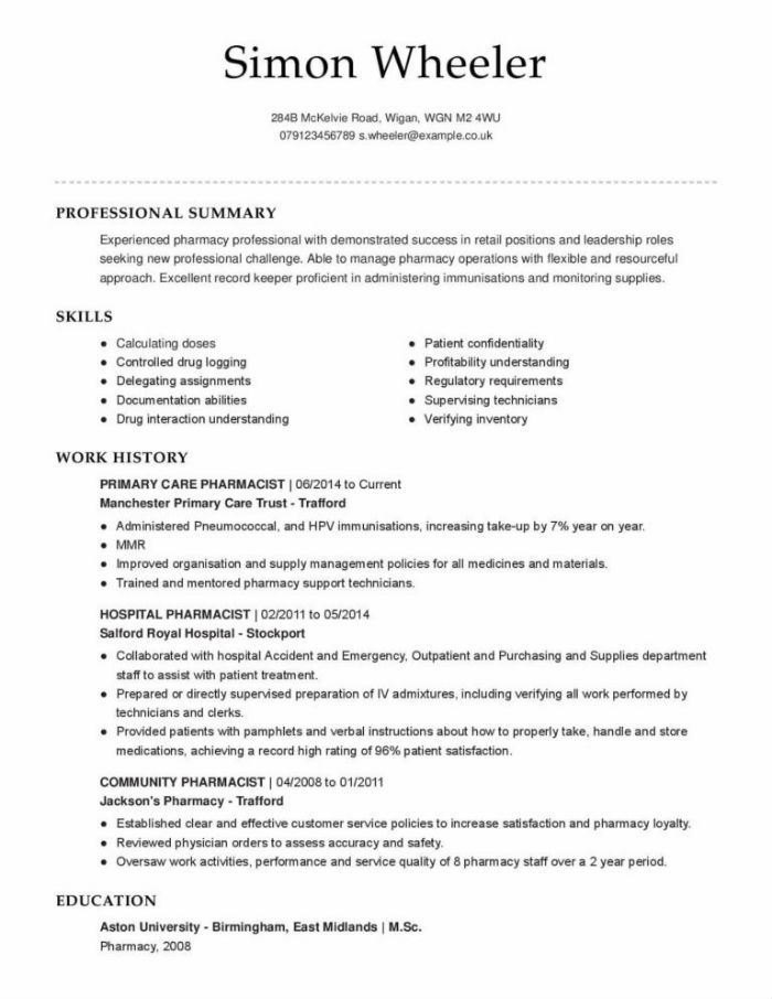 the best pharmacist cv and résumé examples retail resume template hospital sample Resume Retail Pharmacist Resume Template