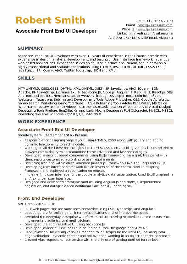 the best software engineer cv examples and templates front end resume ui developer Resume Front End Engineer Resume Examples