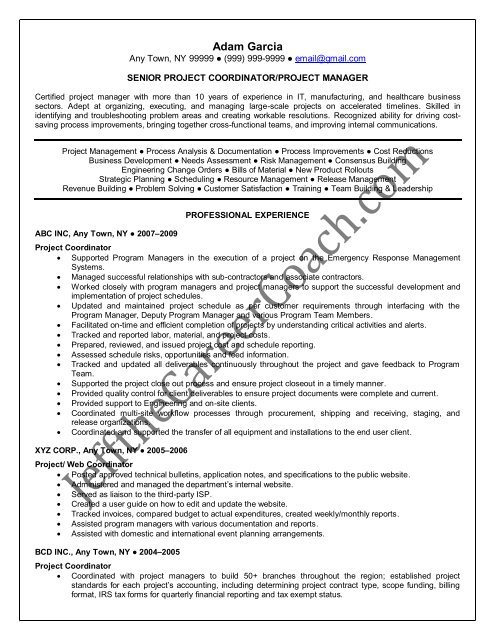the project coordinator resume sample one in pdf emergency management ats software for Resume Emergency Management Coordinator Resume